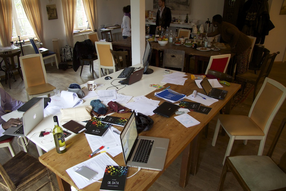 Photo of the desk at the OpenOil booksprint